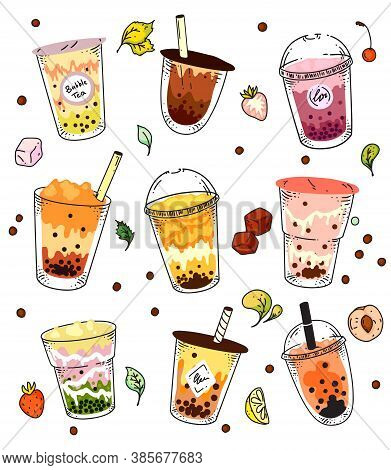 Bubble Tea Set. Isolated Ice Cold Pearl Milk Tea Beverage In Glass And Plastic Takeaway Cup Icon Col