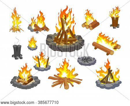 Campfire Icon Set. Isolated Cartoon Fire Flame Icon Collection. Forest Campfire With Burning And Smo