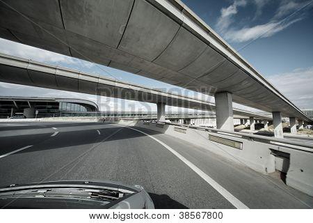 Driving under overpass road bridges.