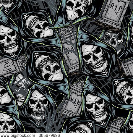 Halloween Colorful Seamless Pattern With Tombstones And Grim Reaper Heads In Vintage Style Vector Il