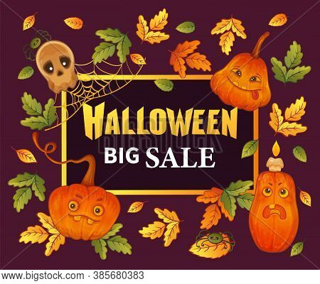 Halloween Big Sale. Special Promotional Offer. Hand Drawn Funny Pumpkins, Skull, Leaves With Letteri