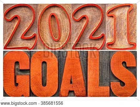 2021 goals banner - New Year resolution and planning concept - isolated text in vintage letterpress wood type printing blocks stained by red ink