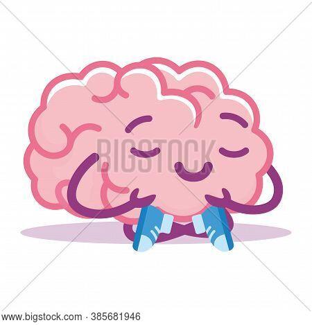Isolated Brain Serenity Emoji Emotion Cute Icon- Vector