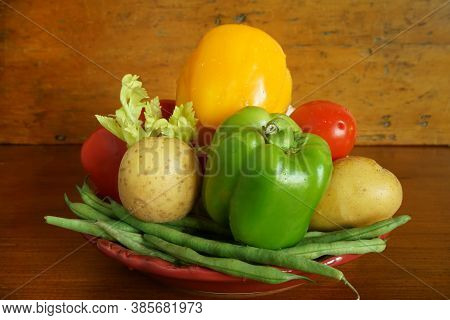 A Selection Of Fresh Vegetables On A Platter