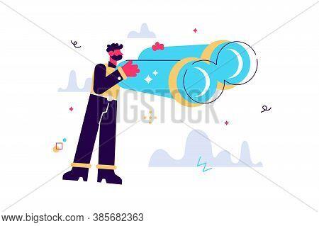 Vector Cartoon Illustration Of Happy Funny Young Smiling Businessman Looking Through Binocular. Char
