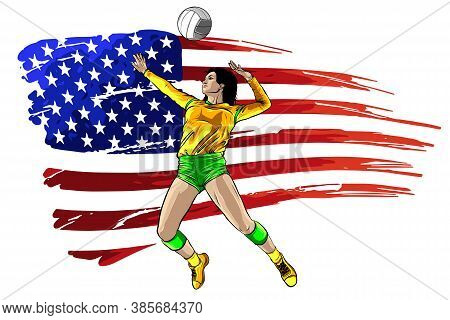 Professional Volleyball Players In Action On The Court. Abstract Volleyball Player