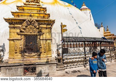 Kathmandu, Nepal - Jan 25, 2020:tower Of The Boudhanath Stupa Decorated With Flags In Kathmandu, Nep