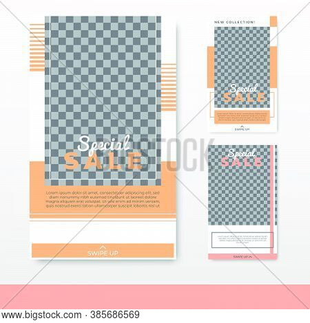 Set Of Minimalist Social Media Post Stories Template Design With Blank Space For Your Image. Sale Ba