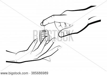 Man Hand Gives The Woman A Folding Car Keychain With Remote Control. Car Alarm, Key Fob. Expensive G