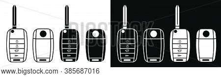 Folding Car Key. Car Alarm, Key Fob. Black And White Vector In Flat And Linear Style