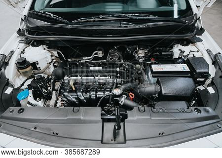 Novosibirsk, Russia - September 12, 2020: Hyundai Solaris, Close Up Of A Clean Motor Block. Internal