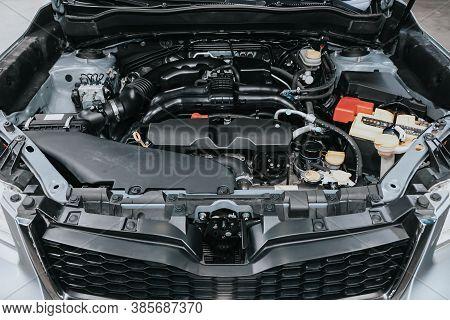 Novosibirsk, Russia - September 12, 2020: Subaru Forester, Close Up Of A Clean Motor Block. Internal