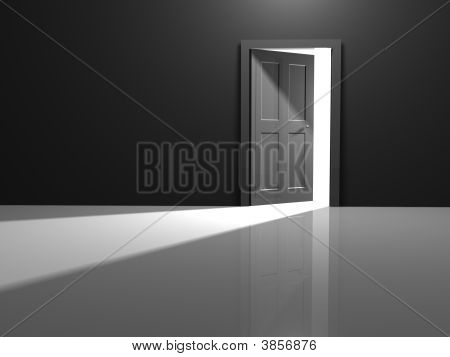 Open door to the white beyond the room poster