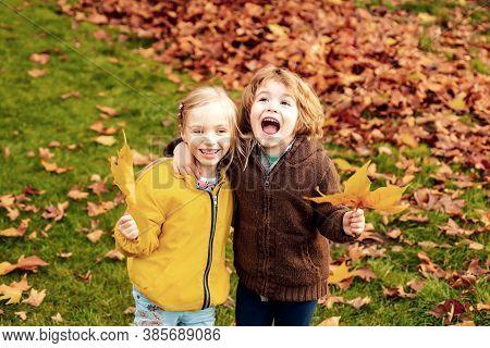 Playful Little Couple Boy Girl Walk On Autumn Meadow Field, Have Fun, Enjoy Good Sunny Day. Little B