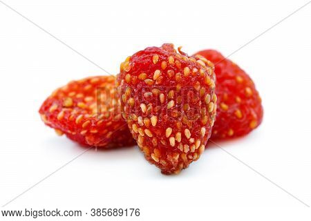 Dried Strawberries Isolated On White Background. Dehydrated Strawberries Chips.