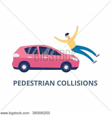 Road Car Accident With Pedestrian Collision, Flat Vector Illustration Isolated.