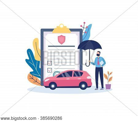 Car Insurance Policy With Insurance Agent Flat Vector Illustration Isolated.