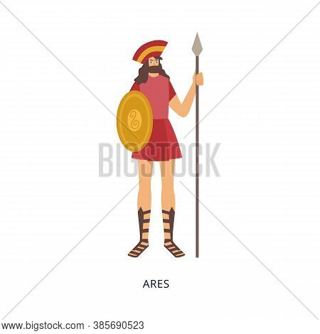 Ares God Of War In Armours And With Shield, Flat Vector Illustration Isolated.