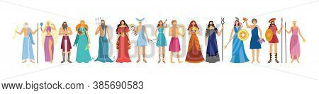 Characters Of Greek Pantheon Goddess And Gods Flat Vector Illustration Isolated.