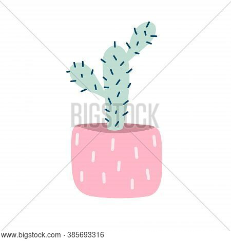 Cactus In A Pot. Prickly Cartoon Cactus