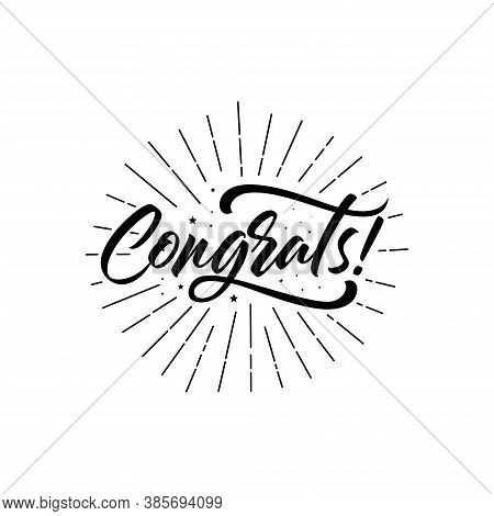 Congrats, Congratulations Card. Hand Lettering. Modern Brush Calligraphy With Gold Texture. Handwrit