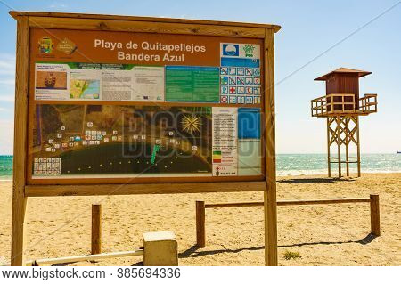 Quitapellejos, Spain - March 21, 2019: Information Board On Quitapellejos Beach, Andalucia Region In
