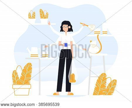Businesswoman Does Several Things At Once Time. He Is Holding Bag, Drink Coffee, Petting The Cat, Re