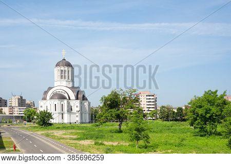 Urban Landscape With Orthodox Church In Satu Mare Romania