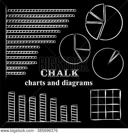 Black And White Hand-drawn Pattern For Lettering In Chalk Style. Chalked Graphs And Charts. Vector B
