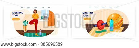 Woman Doing Yoga At Home. Exercise Tools. Fitness And Healthy Lifestyle Concept Illustration. Vector