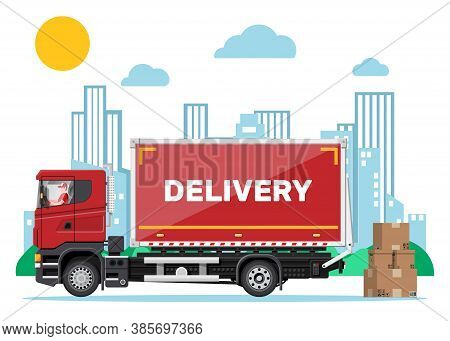 Red Delivery Van And Cardboard Boxes, Cityscape Background. Express Delivering Services Commercial T
