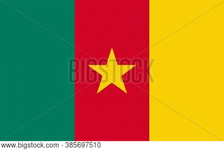 Cameroon Flag, Official Colors And Proportion Correctly. National Cameroon Flag. Flat Vector Illustr