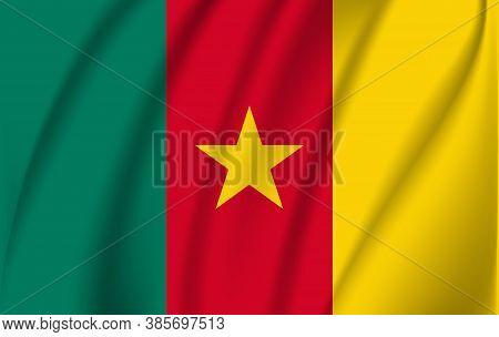 Realistic Waving Flag Of Republic Of Cameroon. Fabric Textured Flowing Flag Of Cameroon.