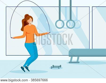 Health And Fitness Concept With Girl In A Gym Working Out With A Skipping Rope, Colored Vector Illus