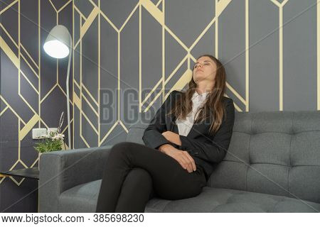 Portrait Of Vintage Business Blonde, White Caucasian Woman Person Sleeping, Resting, Napping, And Ly