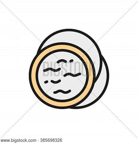 Face Compact Makeup Powder, Blush, Concealer Flat Color Line Icon.