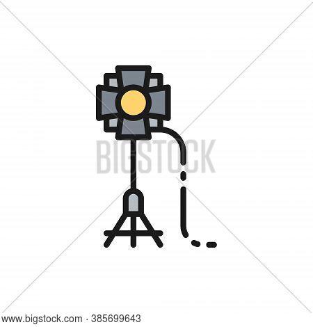 Soffit, Camera Flashlight Spotlight, Studio Lighting Flat Color Line Icon.