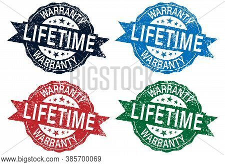 Red Grunge Rubber Ink Stamp: Lifetime Warranty Vector Illustration Set Isolated On White