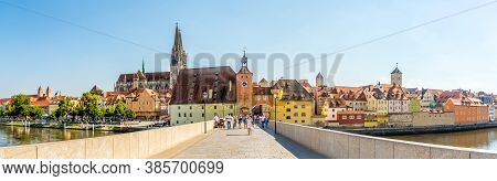 Regensburg,germany - August 10,2020 - Panoramic View At The Regensburg City With Old City Gate. Rege