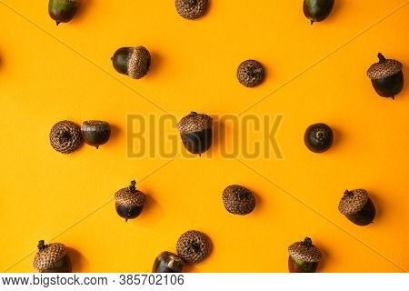 Pattern With Acorns On The Yellow Background. Autumn Concept. Pattern Of Oak Tree Acorns. Vibrant Au