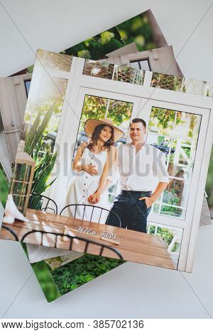 A Stack Of Photobooks. Beautiful, Convenient And Long-lasting Photo Storage. Decoration A Profession