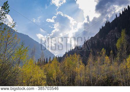 Beautiful Autumn In The Mountains. Almaty, Kazakhstan
