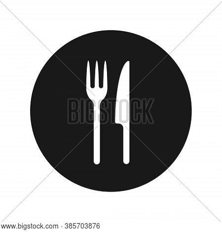 Fork And Knife Icon Logo. Simple Flat Shape Restaurant Or Cafe Place Sign. Kitchen And Diner Menu Sy
