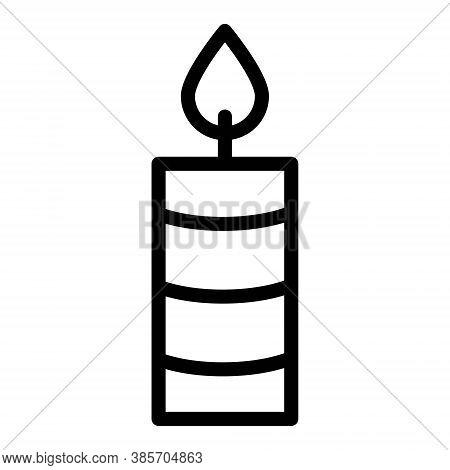 Burning Candle Icon. Candle Light, Flame, Spa Candle Symbols. Spirituality, Meditation Signs.