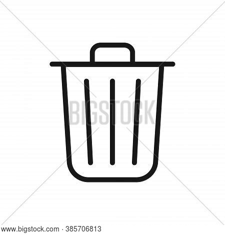 Trashcan Icon. Carbage Can Symbol. Flat Shape Delete Sign. Trash Container And Recycling Bin Logo. V