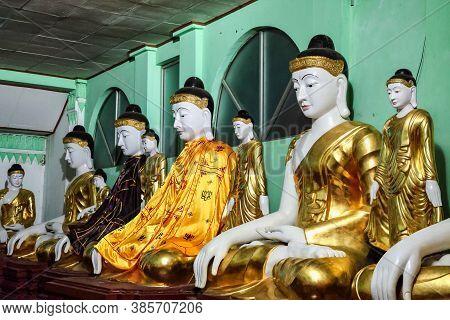 Shwedagon Pagoda Temple In Yangon, Myanmar, Burma In Asia