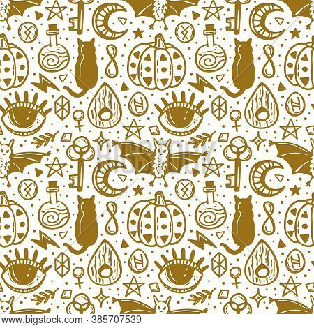 Halloween Seamless Pattern. Holiday Golden Ink Silhouettes. Eye, Pumpkin, Key, Poison, Runes, Moon,