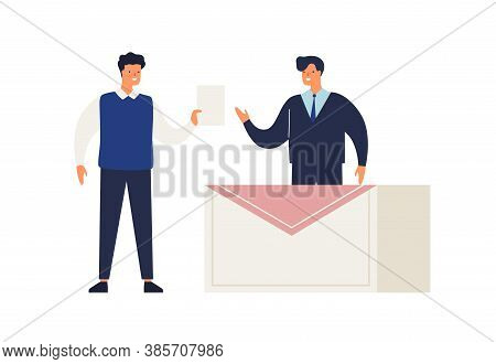 Male Elector Give Ballot Or Voting Choosing Candidate At Polling Place Vector Flat Illustration. Man