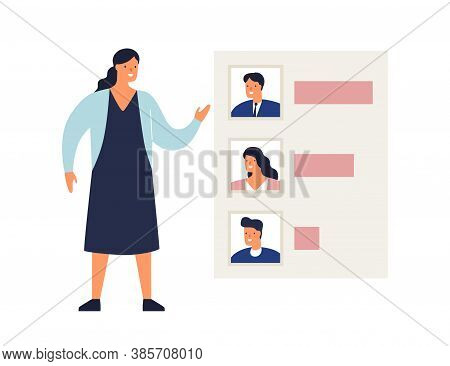 Woman Demonstrate Results Of Voting Or Rating Candidates Vector Flat Illustration. Female Showing An