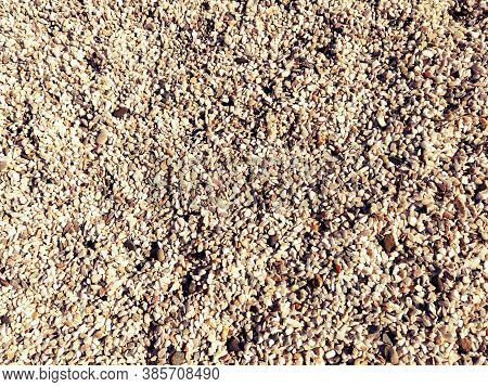 Beige Small Pebbles Or Decorative Gravel. Natural Daylight. The Texture Of The Stone With A Rough Su